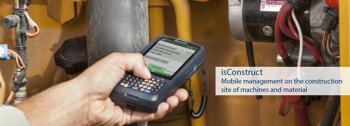 Mobile data management on the construction site of machines and material
